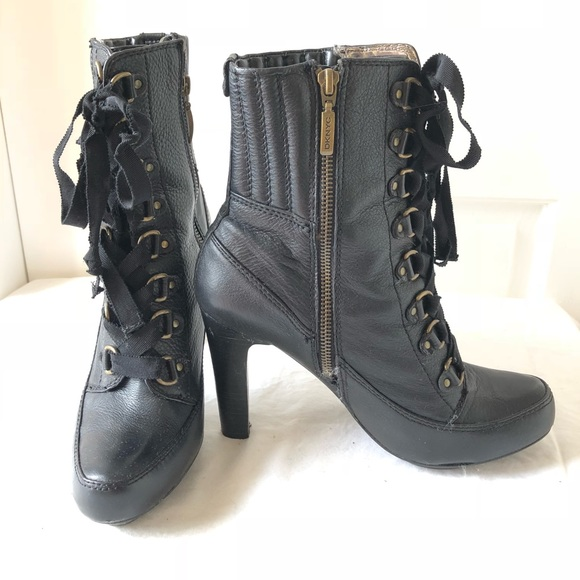 6ed17c772994 DKNY Shoes - DKNY Izzy Black Leather Ribbon Lace Up Booties
